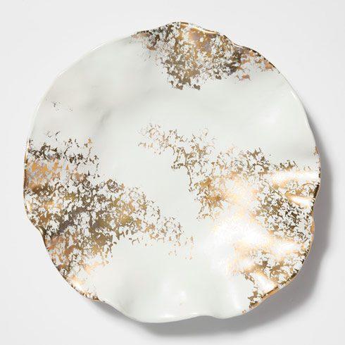 VIETRI  Scattered Gold Matte Round Platter $175.00