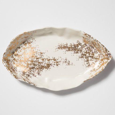Vietri  Scattered Gold Matte Oval Platter $210.00