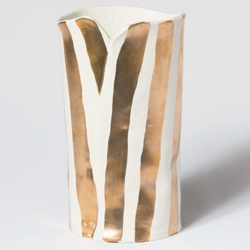 VIETRI  Scattered Gold Matte Striped Vase $45.00