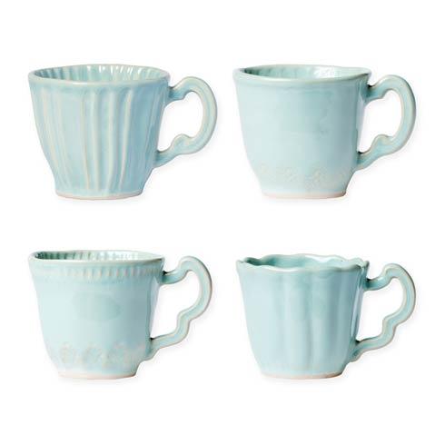 Vietri Incanto Stone Aqua Aqua Assorted Mugs - Set of 4 $184.00