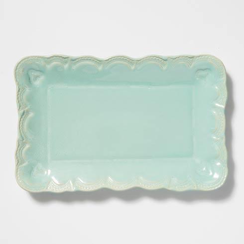 Vietri Incanto Stone Aqua Lace Small Rectangular Platter $136.00