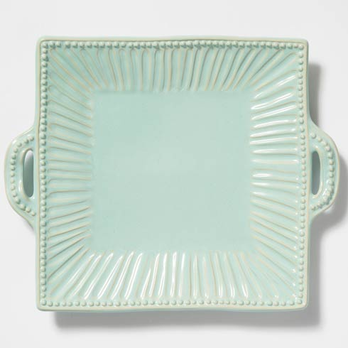 Vietri Incanto Stone Aqua Stripe Square Handled Platter $154.00