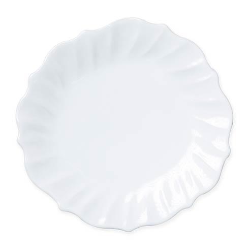 Vietri Incanto Stone White White Ruffle Dinner Plate $46.00