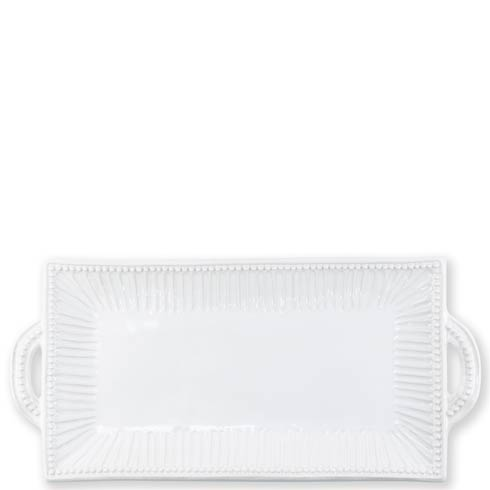 VIETRI Incanto Stone White Stripe Rectangular Handled Platter $155.00