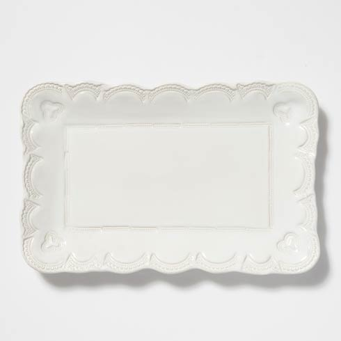 Vietri Incanto Stone White Lace Small Rectangular Platter $136.00