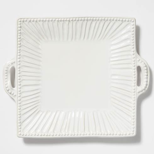 Vietri Incanto Stone White Stripe Square Handled Platter $170.00