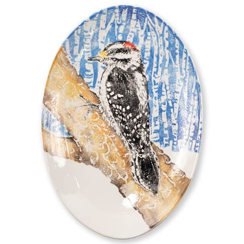 $195.00 Woodpecker Shallow Oval Bowl