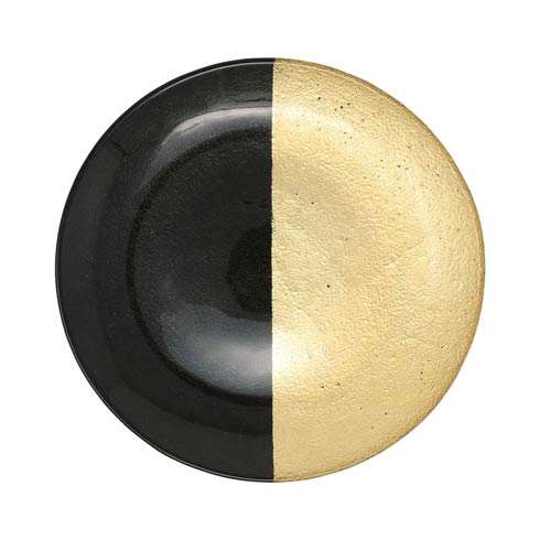 $32.00 Two-Tone Glass Black & Gold Dinner Plate