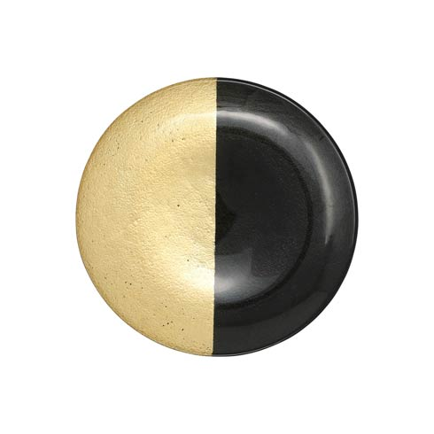 $25.00 Two-Tone Glass Black & Gold Salad Plate