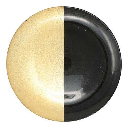 $38.00 Two-Tone Glass Black & Gold Platter