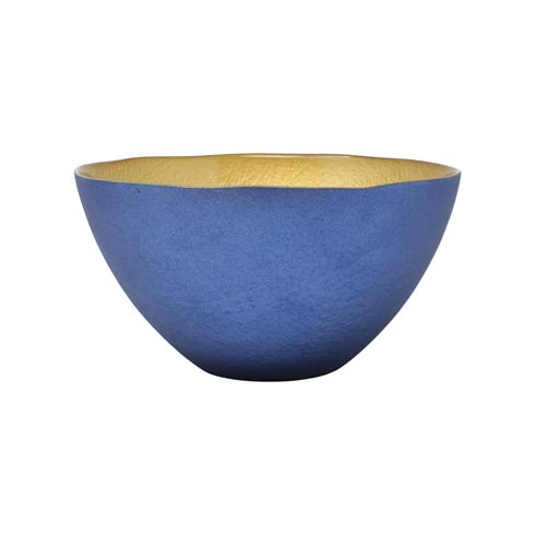 $28.00 Two-Tone Glass Blue & Gold Small Deep Bowl