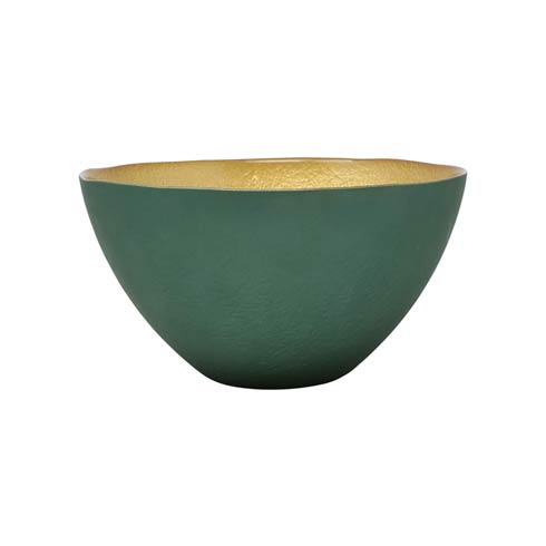 Vietri  Two-Tone Glass Emerald & Gold Small Deep Bowl $29.00