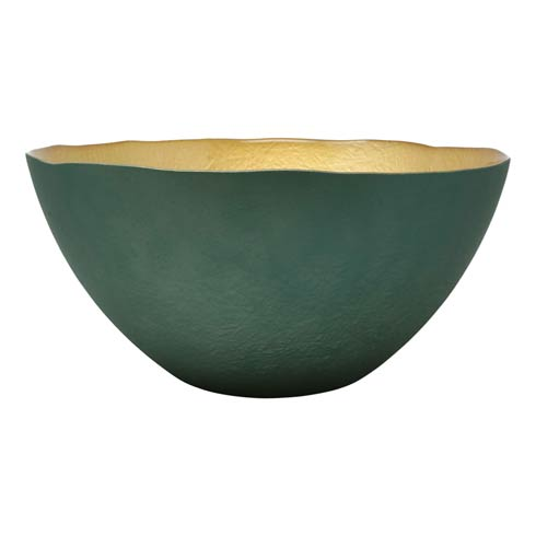 $54.00 Two-Tone Glass Emerald & Gold Large Deep Bowl