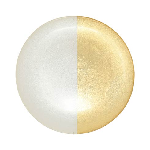 $32.00 Two-Tone Glass White & Gold Dinner Plate