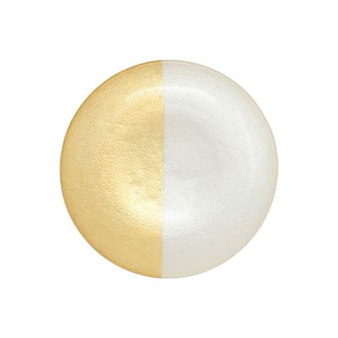 $25.00 Two-Tone Glass White & Gold Salad Plate