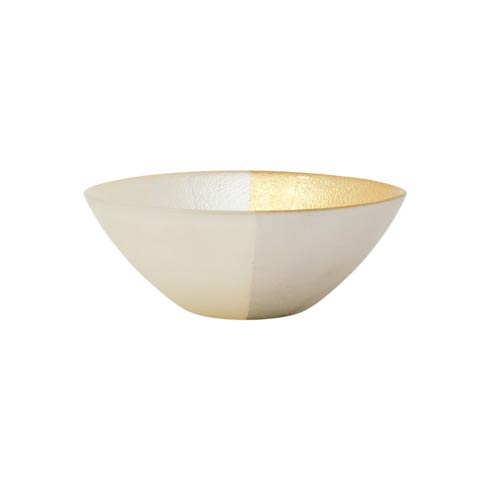 $23.00 Two-Tone Glass White & Gold Cereal Bowl