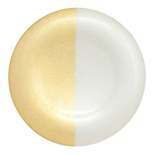 VIETRI  Two-Tone Glass White & Gold Platter $39.00