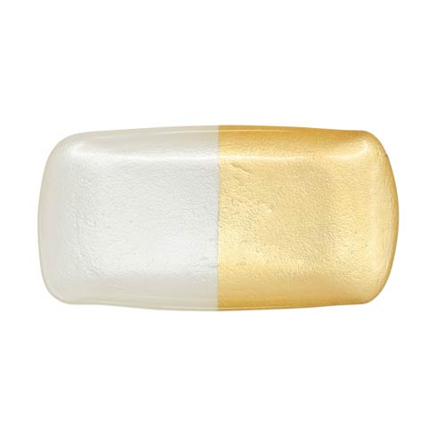 VIETRI  Two-Tone Glass White & Gold Rectangular Tray $35.00