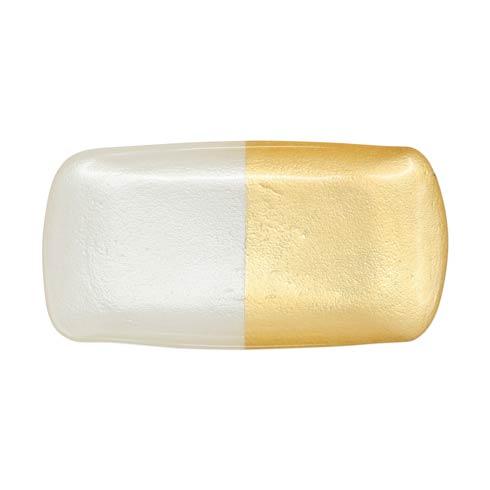 VIETRI  Two-Tone Glass White & Gold Rectangular Tray $35.00
