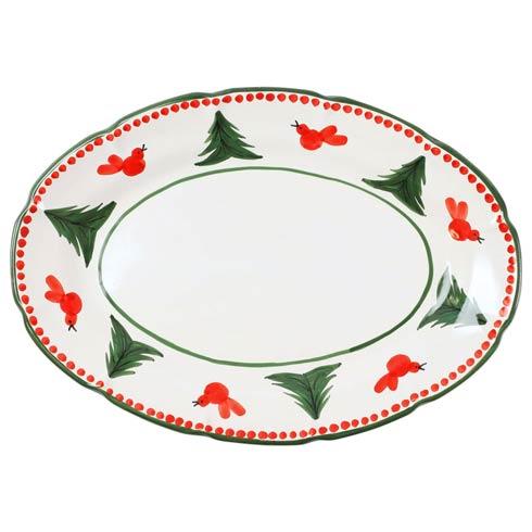 VIETRI  Uccello Rosso Oval Platter $181.00