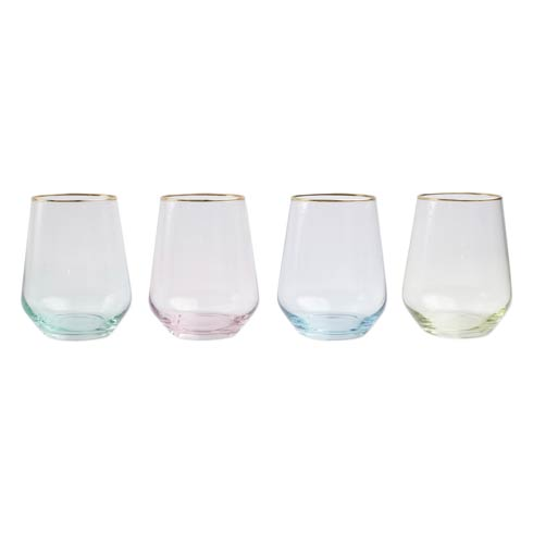 Assorted Stemless Wine Glasses - Set of 4