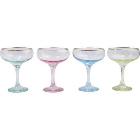 $60.00 Assorted Coupe Champagne Glasses - Set of 4