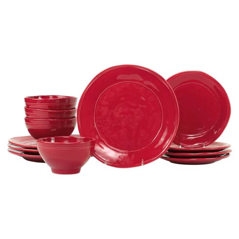 $224.00 Red 12-Piece Place Setting