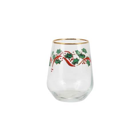 Viva by Vietri   Holly Stemless Wine Glass $12.00