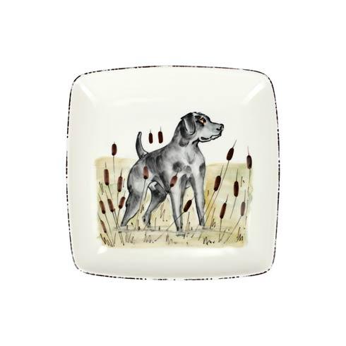 VIETRI   Wildlife Black Hunting Dog Square Platter $144.00
