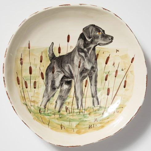 Vietri  Wildlife Wildlife Black Hunting Dog Large Serving Bowl $218.00