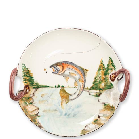 $199.00 Rainbow Trout Handled Round Platter