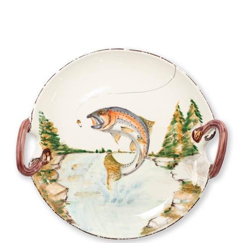 Vietri  Wildlife Wildlife Rainbow Trout Handled Round Platter $199.00