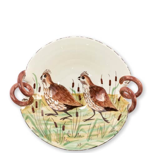 VIETRI  Wildlife Quail Scallop Handled Bowl $155.00