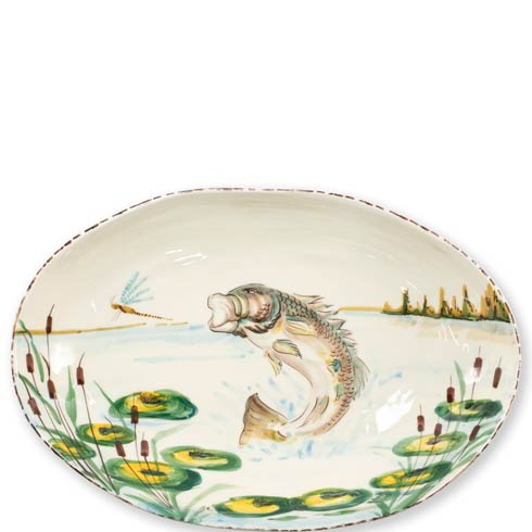 $184.00 Wildlife Bass Oval Bowl
