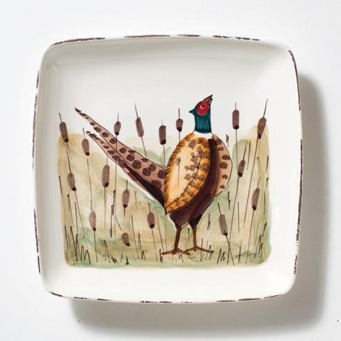Vietri  Wildlife Pheasant Small Square Platter $118.00