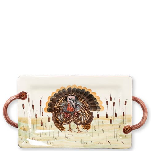 VIETRI  Wildlife Turkey Handled Rectangular Platter $200.00
