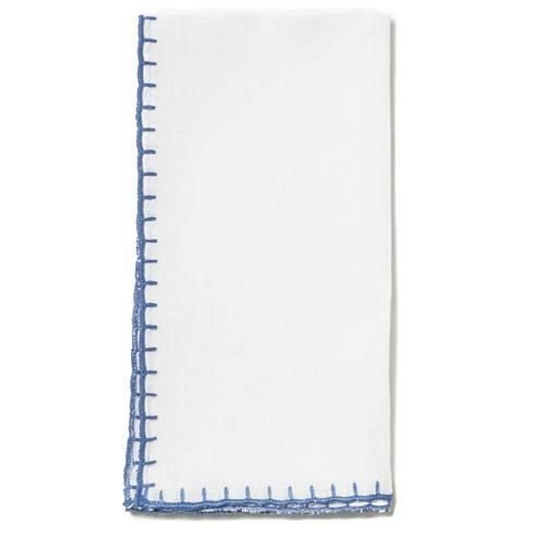 Vietri  Whipstitch White with Cobalt Napkin $21.00