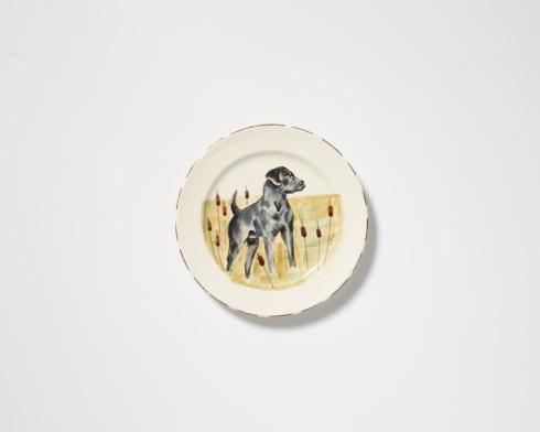 Vietri  Wildlife Black Hunting Dog Dinner Plate $55.00