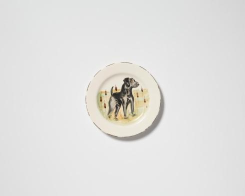 VIETRI  Wildlife Black Hunting Dog Salad Plate $52.00