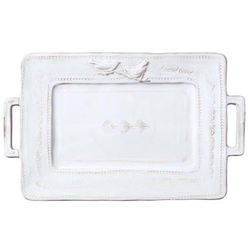 Vietri Bellezza White Handled Rectangular Platter $158.00