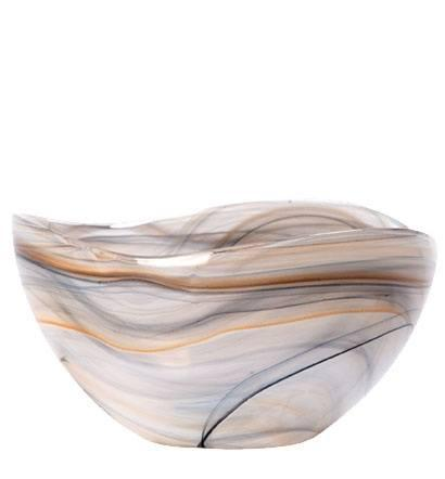 VIETRI  Taupe Glass Deep Serving Bowl $75.00