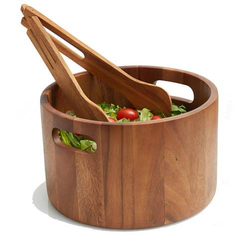 $64.99 Acacia Wood Salad Bowl with Tongs