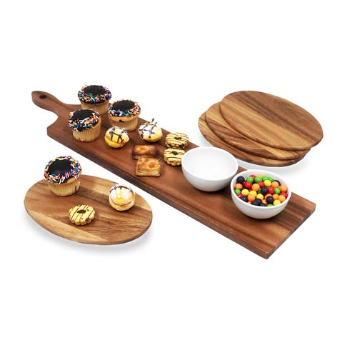 Wood Serving Essentials collection with 23 products