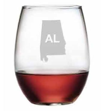 State Outline Stemless Wine, s/4