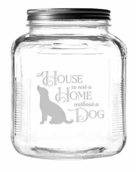 House Home Dog Jar with Brushed Lid