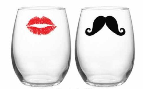 Kiss & Moustache Silkscreen Stemless Wine, s/2 collection with 1 products