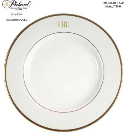Pickard Signature Custom Ultra White Rim Salad Plate Mono Gold Block #3 EHC  collection with 1 products