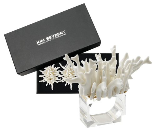 $105.00 Amalfi Napkin Rings in White, Set of 4 in a Gift Box