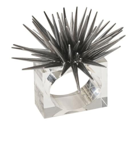 $112.00 Astrid Napkin Ring in Gunmetal, Set of 4