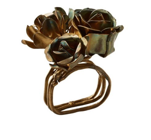 $140.00 Bouquet Napkin Ring in Gold, Set of 4